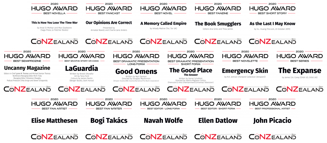 2020 Hugo Award category plaques