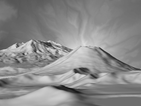 Mountains with Heightmap in Background