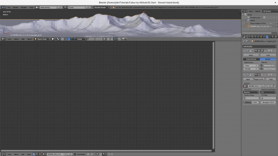 Blender UI setup for procedural colouring of terrain